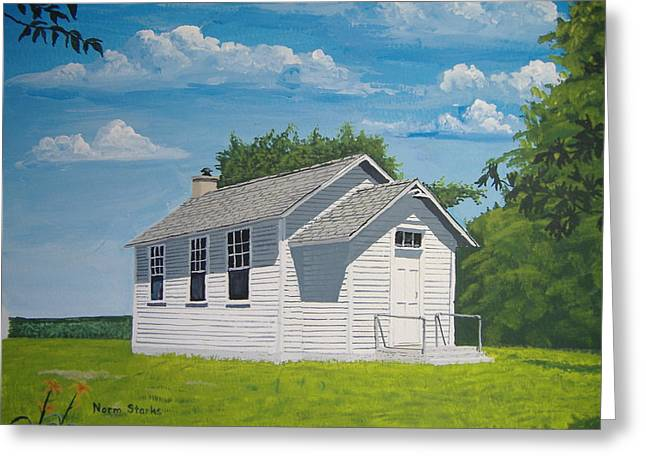 Old School Houses Paintings Greeting Cards - Belding School Greeting Card by Norm Starks