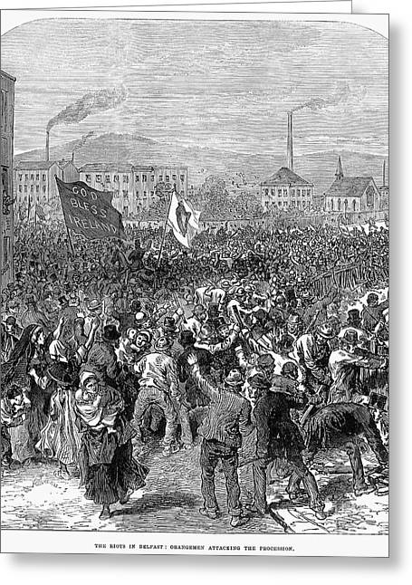 Protesters Greeting Cards - Belfast: Riot, 1872 Greeting Card by Granger