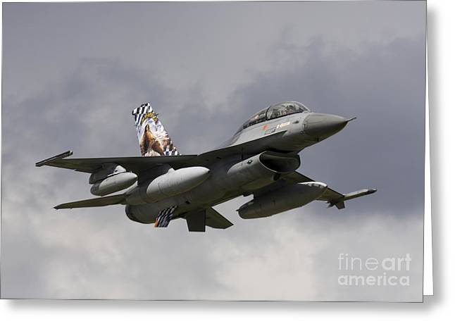 Air Component Greeting Cards - Belgian F-16b Taking Off Greeting Card by Timm Ziegenthaler