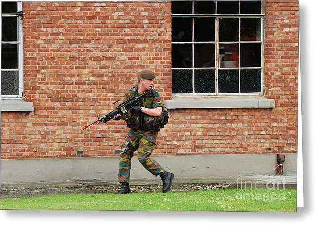 Belgian Infantrists Under Attack Greeting Card by Luc De Jaeger