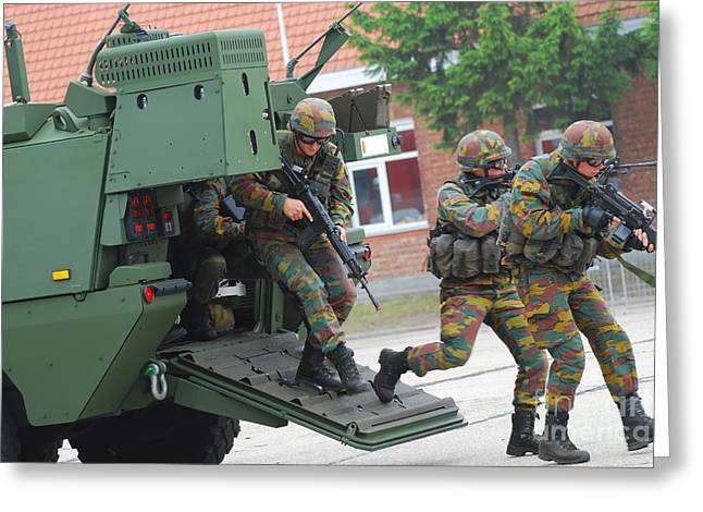 Piranha Greeting Cards - Belgian Infantry Soldiers Exit Greeting Card by Luc De Jaeger