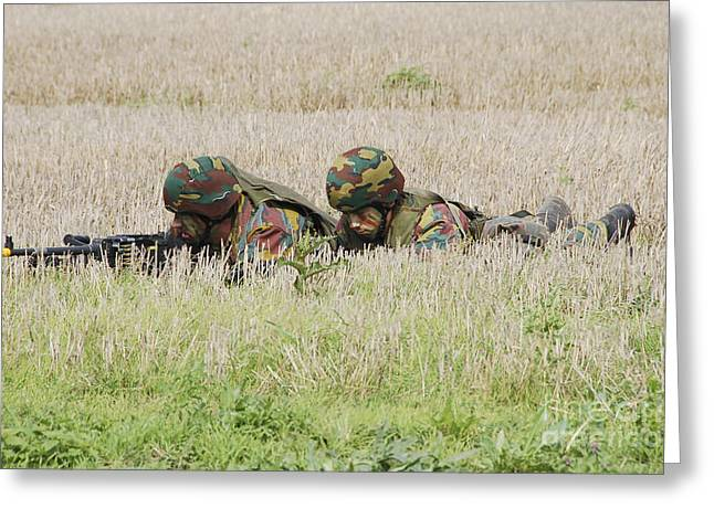 Ambush Greeting Cards - Belgian Paratroopers On Guard Greeting Card by Luc De Jaeger