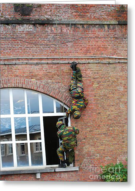 Rappel Greeting Cards - Belgian Paratroopers Rappelling Greeting Card by Luc De Jaeger