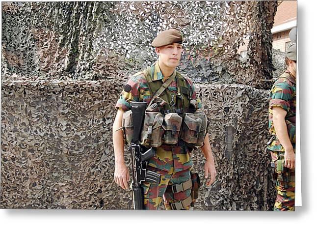 Belgian Soldier On Guard Greeting Card by Luc De Jaeger