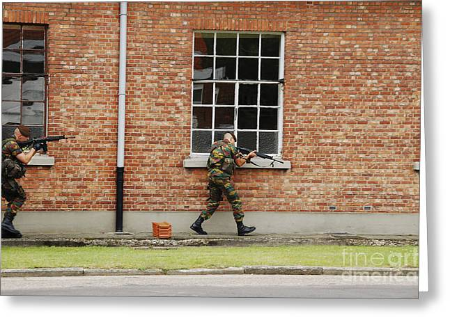 Component Greeting Cards - Belgian Soldiers On Patrol Greeting Card by Luc De Jaeger