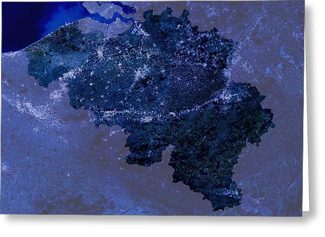 Light Emission Greeting Cards - Belgium By Night, Satellite Image Greeting Card by Planetobserver