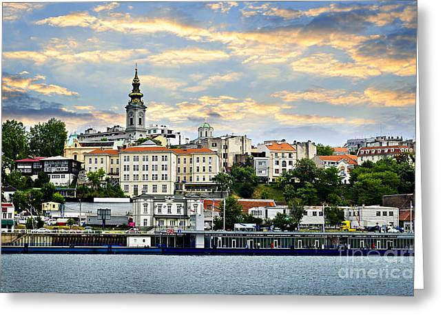 Clock Greeting Cards - Belgrade cityscape on Danube Greeting Card by Elena Elisseeva