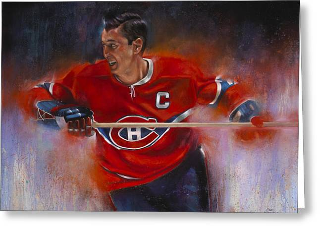 Hockey Paintings Greeting Cards - Beliveau Greeting Card by Gary McLaughlin