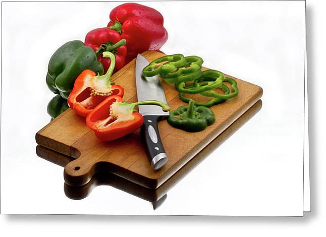 Veggie Greeting Cards - Bell peppers and knife on cutting board Greeting Card by Gert Lavsen