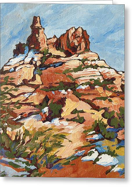 Oak Creek Paintings Greeting Cards - Bell Rock 2 Greeting Card by Sandy Tracey