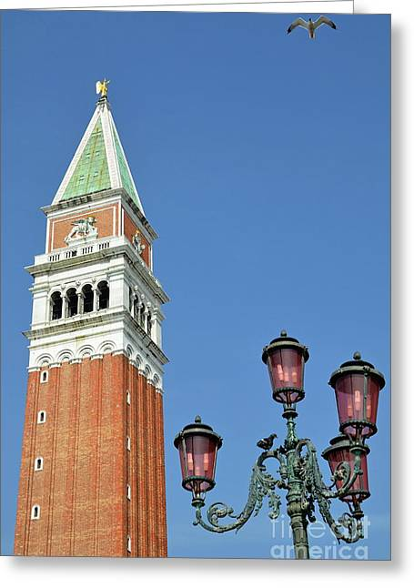 Antique City Greeting Cards - Bell Tower on San Marco Piazza Greeting Card by Sami Sarkis
