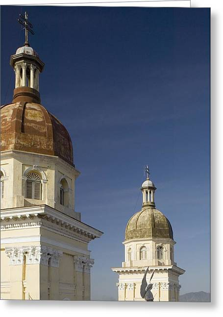 Santiago Cuba Greeting Cards - Bell Towers Of Catedral De La Anuncion Greeting Card by Axiom Photographic