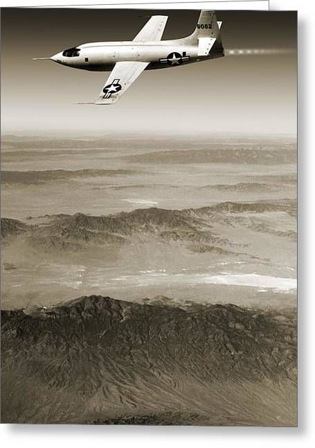 X-plane Greeting Cards - Bell X-1 Supersonic Aircraft Greeting Card by Detlev Van Ravenswaay