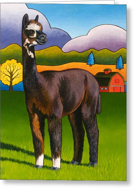 Alpaca Greeting Cards - Bella Greeting Card by Stacey Neumiller