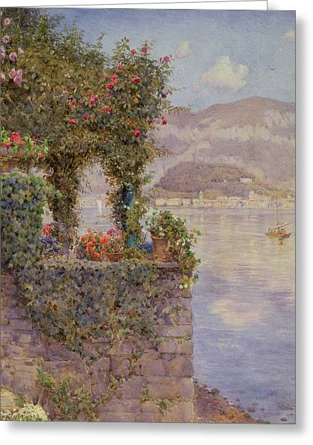 Bellagio Greeting Cards - Bellagio from Tremezzo Greeting Card by Ernest Arthur Rowe