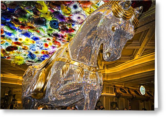 Bellagio Greeting Cards - Bellagio Mosaic Horse Greeting Card by Jon Berghoff