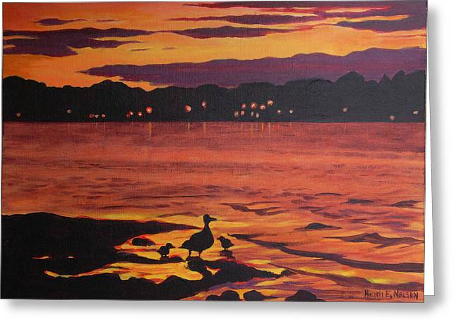 Baby Mallards Paintings Greeting Cards - Bellaire Ducks Greeting Card by Heidi E  Nelson