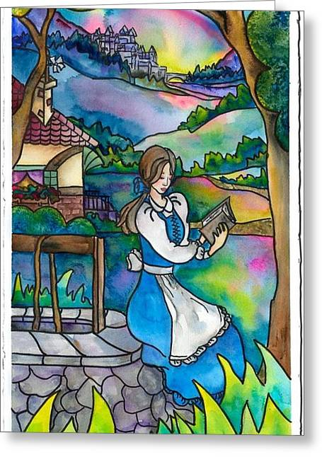 Belles Mixed Media Greeting Cards - Belle Greeting Card by Cyrene Swallow