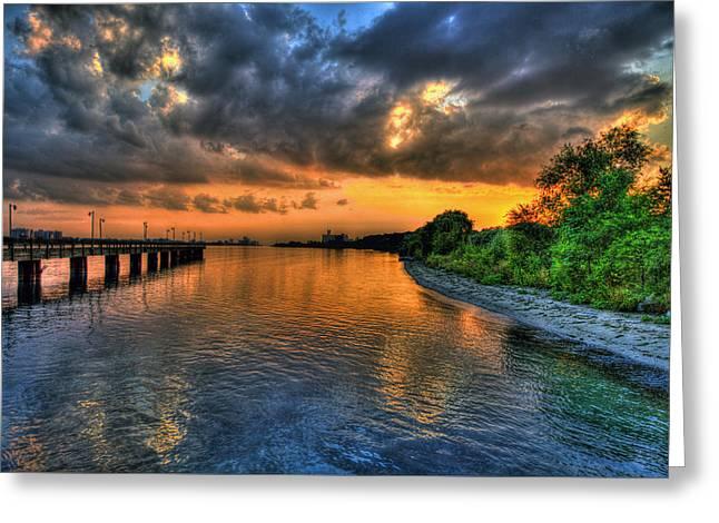 Belle Isle Greeting Cards - Sunset at Belle Isle Pier Detroit MI Greeting Card by Nicholas  Grunas