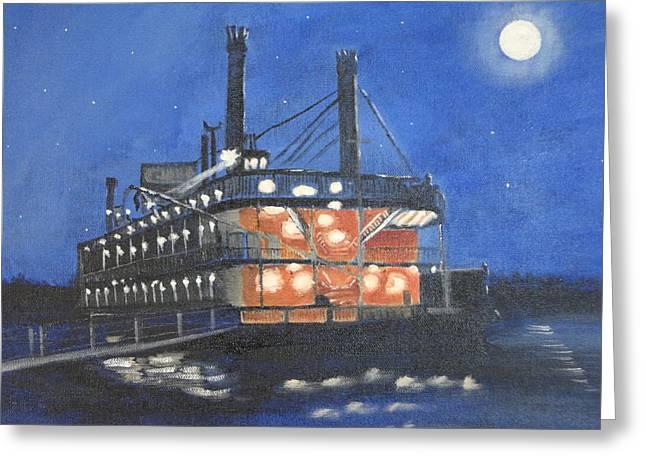 Moonlight On The River Greeting Cards - Belle of Cincinnati Greeting Card by Lynette Brown