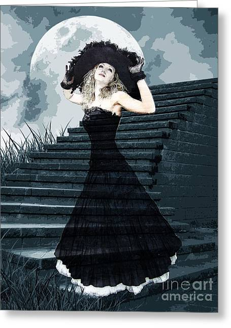 Belles Mixed Media Greeting Cards - Belle Of The Full Moon Ball Greeting Card by Tammera Malicki-Wong
