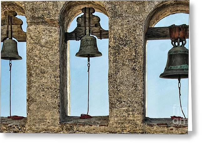 Bells Of San Juan Capistrano Greeting Card by Diana Cox