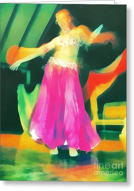 Sweating Paintings Greeting Cards - Belly dancer Greeting Card by Odon Czintos