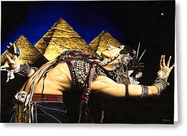 Pyramid Paintings Greeting Cards - Bellydance of the Pyramids - Rachel Brice Greeting Card by Richard Young