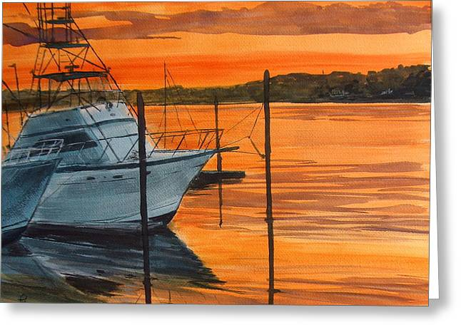 Belmar Marina Greeting Card by Pete Maier