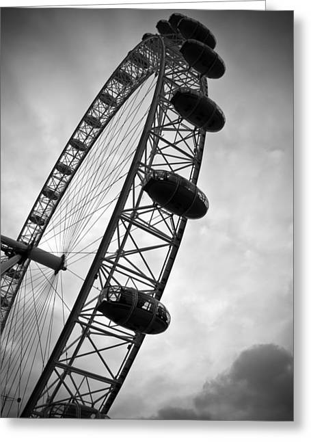 Amusements Greeting Cards - Below Londons Eye BW Greeting Card by Kamil Swiatek