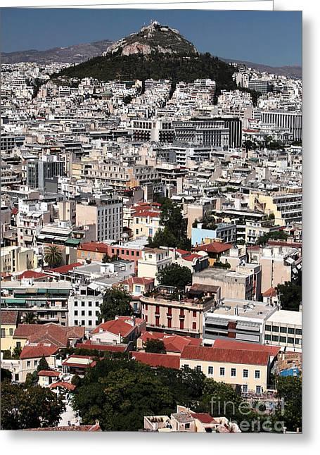 Greek School Of Art Greeting Cards - Below Mount Lykavittos Greeting Card by John Rizzuto