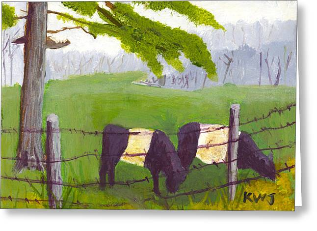 Oreo Photographs Greeting Cards - Belted Galloway Cow Painting Rockport Maine Greeting Card by Keith Webber Jr