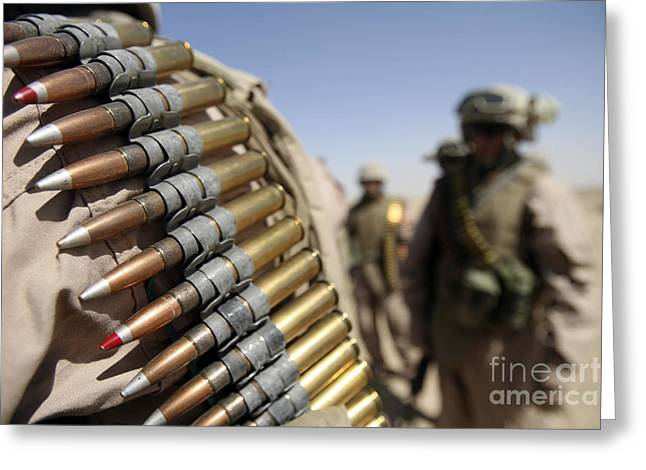Round Shell Greeting Cards - Belts Of .50-caliber Ammunition Hang Greeting Card by Stocktrek Images