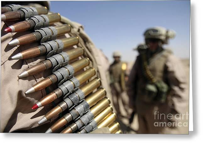 .50 Caliber Greeting Cards - Belts Of .50-caliber Ammunition Hang Greeting Card by Stocktrek Images