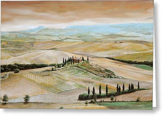 Villa Paintings Greeting Cards - Belvedere - Tuscany Greeting Card by Trevor Neal