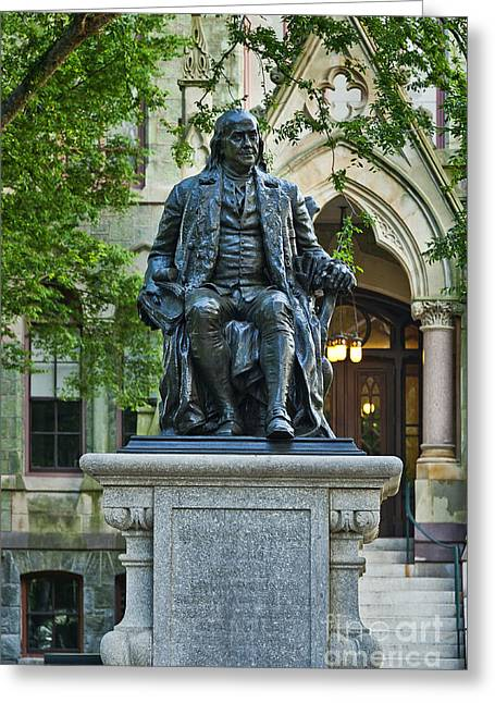 Duke Greeting Cards - Ben Franklin at the University of Pennsylvania Greeting Card by John Greim