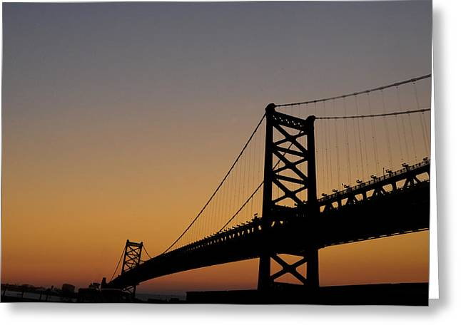 Ben Franklin Bridge Greeting Cards - Ben Franklin Bridge Sunrise Greeting Card by Bill Cannon