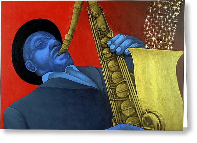 Playing Musical Instruments Greeting Cards - Ben Webster Greeting Card by Larry Smart