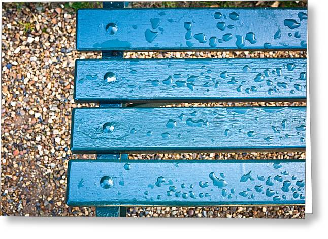 Soaked Greeting Cards - Bench after rain Greeting Card by Tom Gowanlock