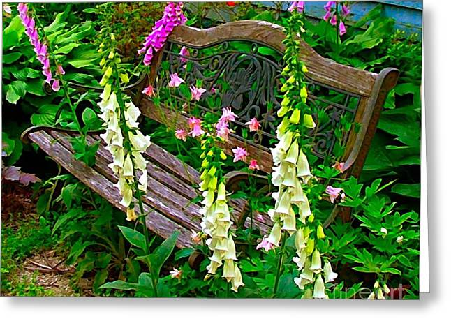 Bench Among the Foxgloves Greeting Card by Julie Dant