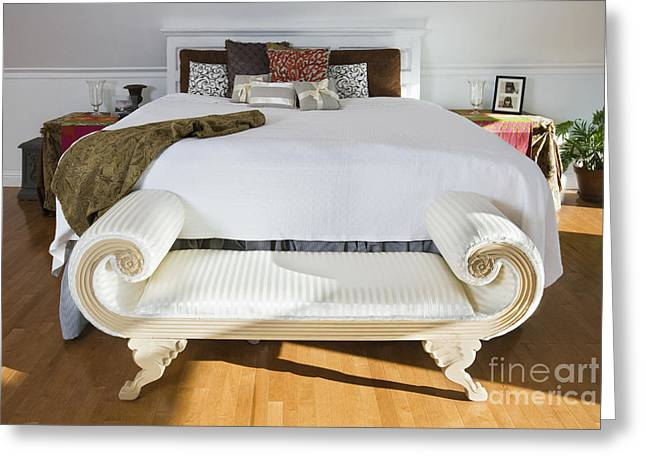 Hardwood Flooring Greeting Cards - Bench at Foot of Bed Greeting Card by Andersen Ross