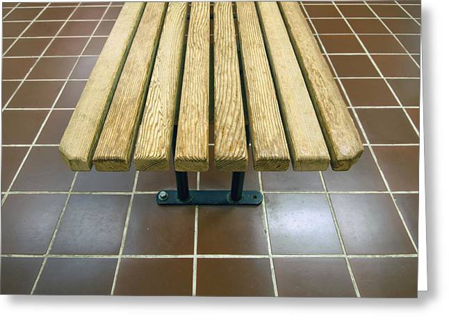 Public Bath Greeting Cards - Bench In A Public Shower Room Greeting Card by Marlene Ford