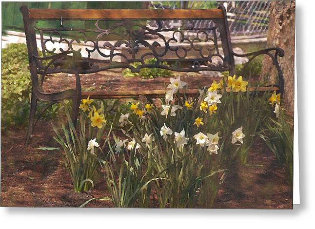 Amish Greeting Cards - Bench Greeting Card by Kathy Jennings