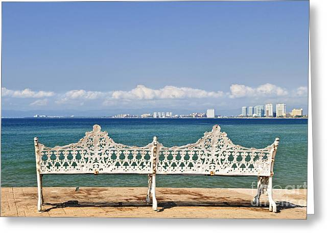 Bench On Malecon In Puerto Vallarta Greeting Card by Elena Elisseeva