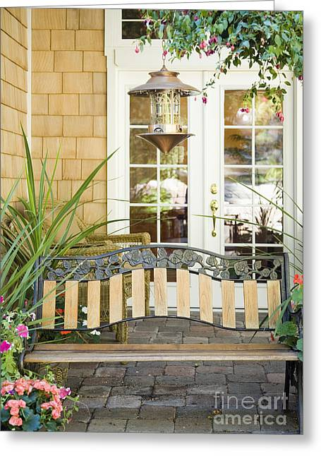 French Door Greeting Cards - Bench on Patio Greeting Card by Andersen Ross