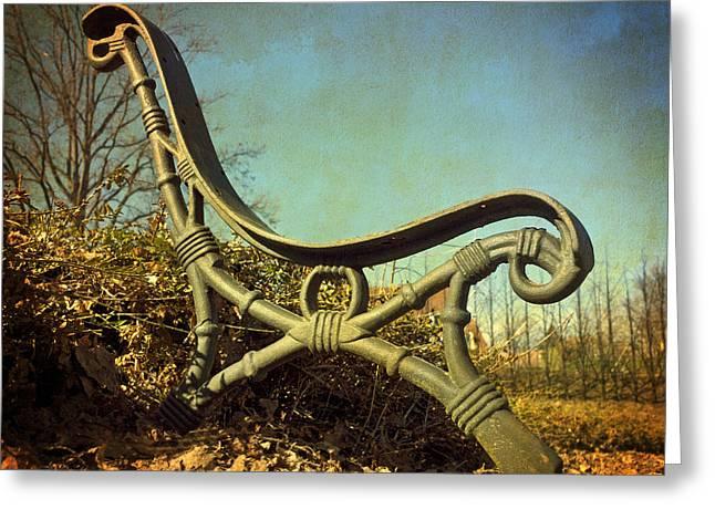 Bench. Vintage Look. Greeting Card by Bernard Jaubert
