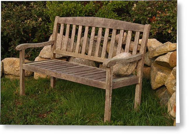 Wood Bench Greeting Cards - Bench with Stone Greeting Card by Richard Mansfield