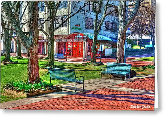 Seren Greeting Cards - Benches Greeting Card by Stephen Younts