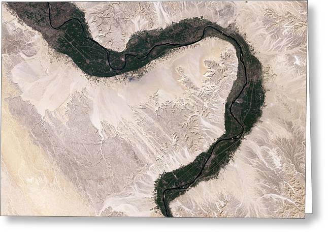 River Nile Greeting Cards - Bend In The Nile River Greeting Card by Nasa