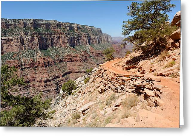 South Kaibab Trail Greeting Cards - Bend on the South Kaibab Trail Greeting Card by Julie Niemela